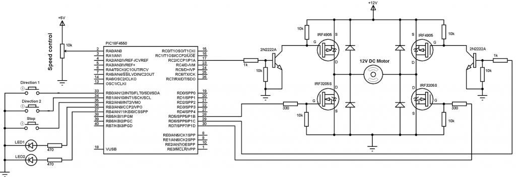 PIC18F4550 DC motor speed direction control circuit