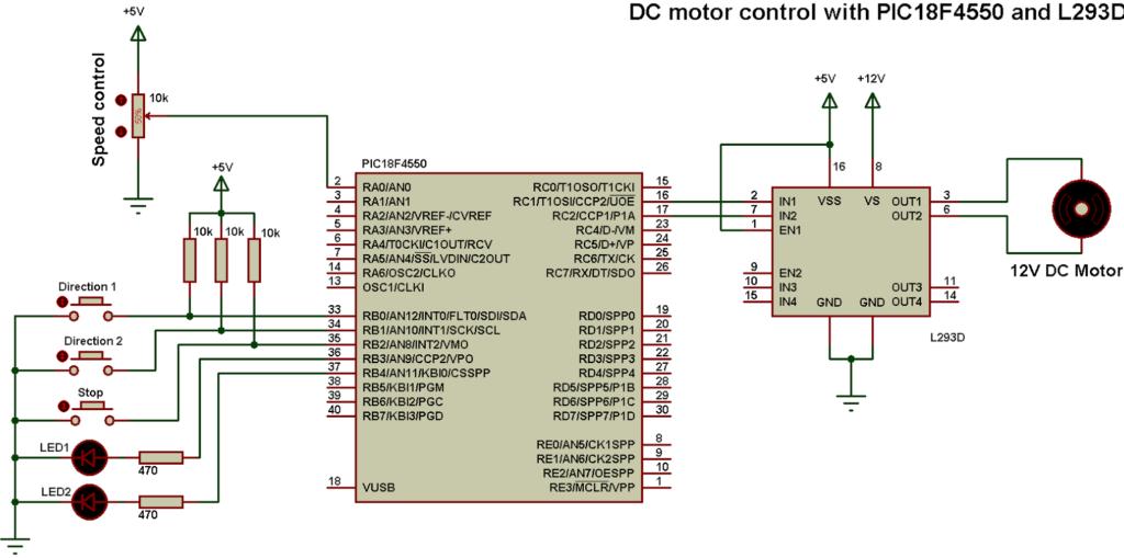 PIC18F4550 L293D dc motor control circuit
