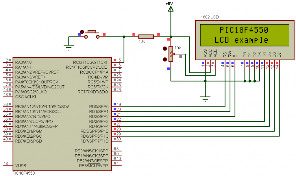 PIC18F4550 interface with LCD using CCS PIC C compiler