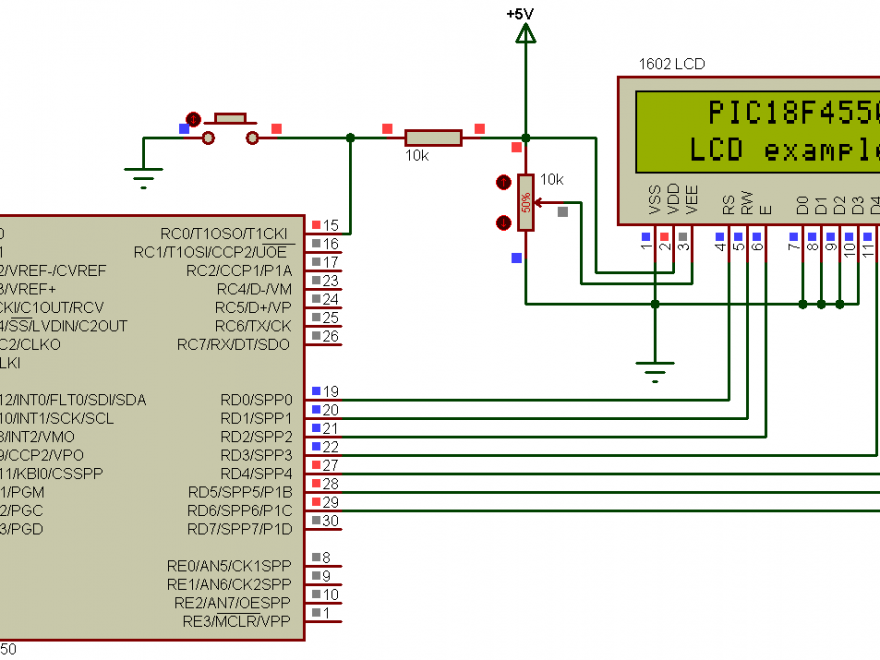 PIC18F4550 LCD example circuit