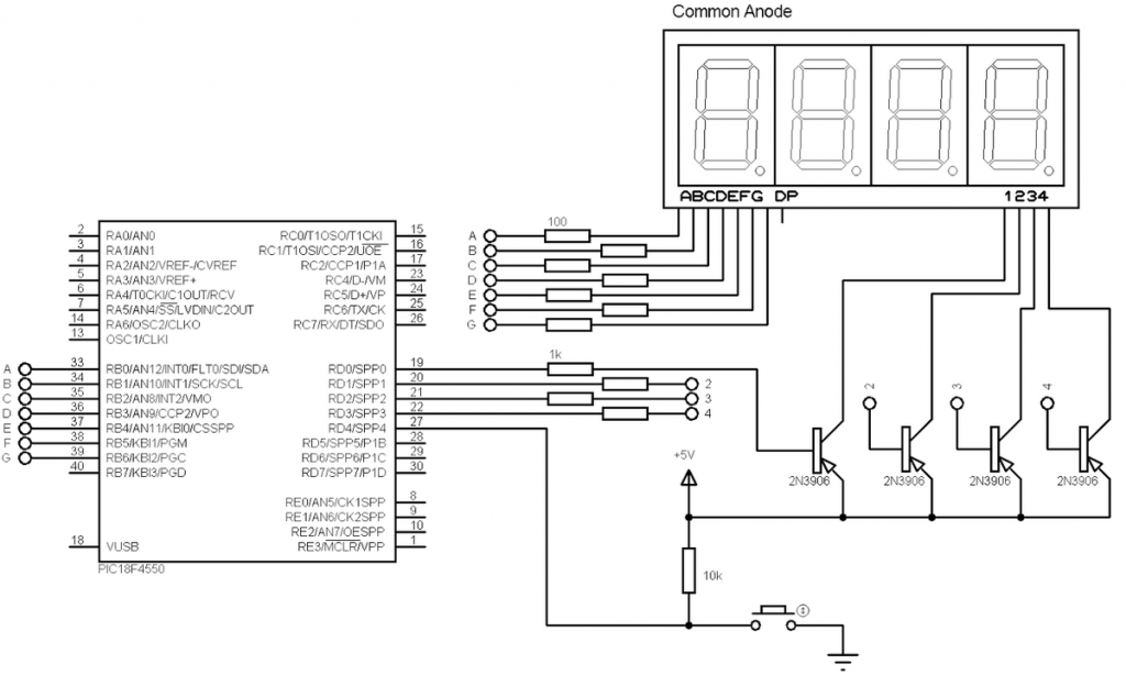 PIC18F4550 7 segment display circuit