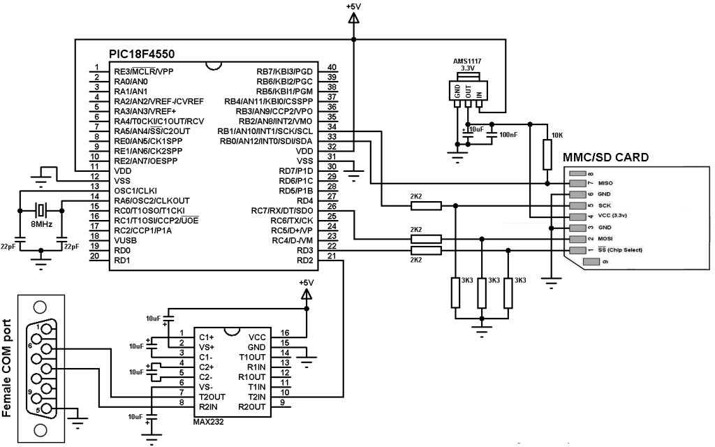 PIC18F4550 SD card interfacing circuit
