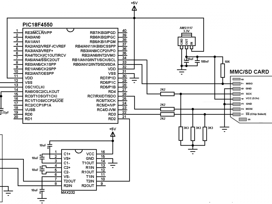 PIC18F4550 SD card interfacing circuit