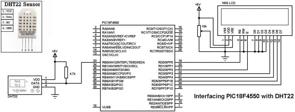 PIC18F4550 DHT22 sensor circuit