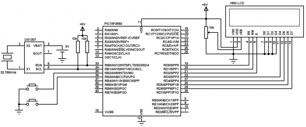 PIC18F4550 DS1307 real time clock circuit