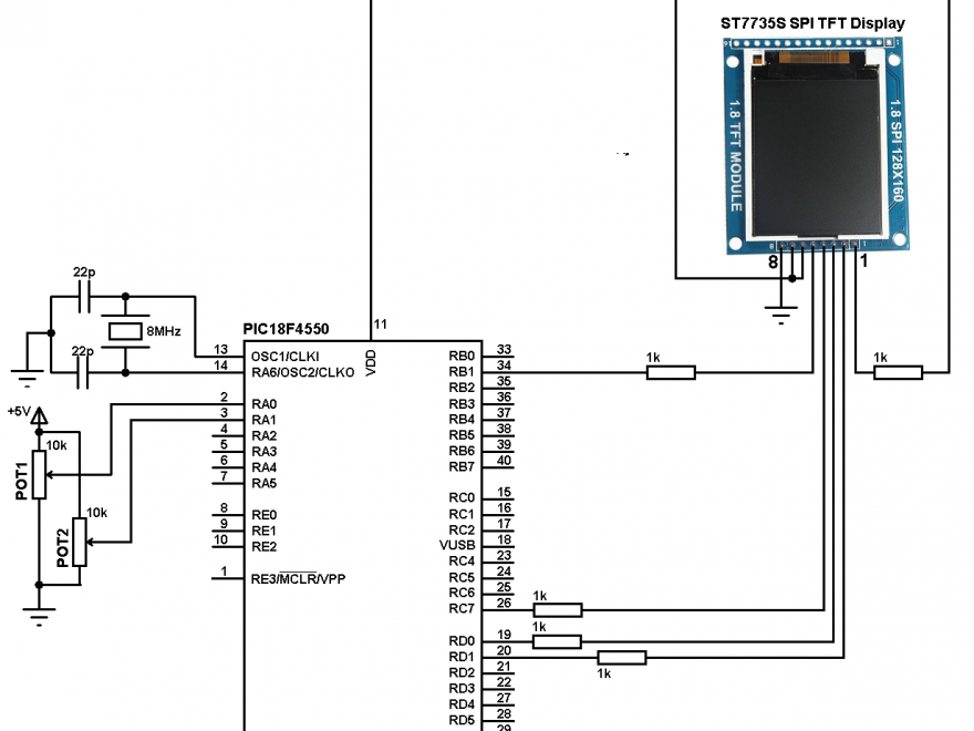 PIC18F4550 ST7735 ADC example circuit
