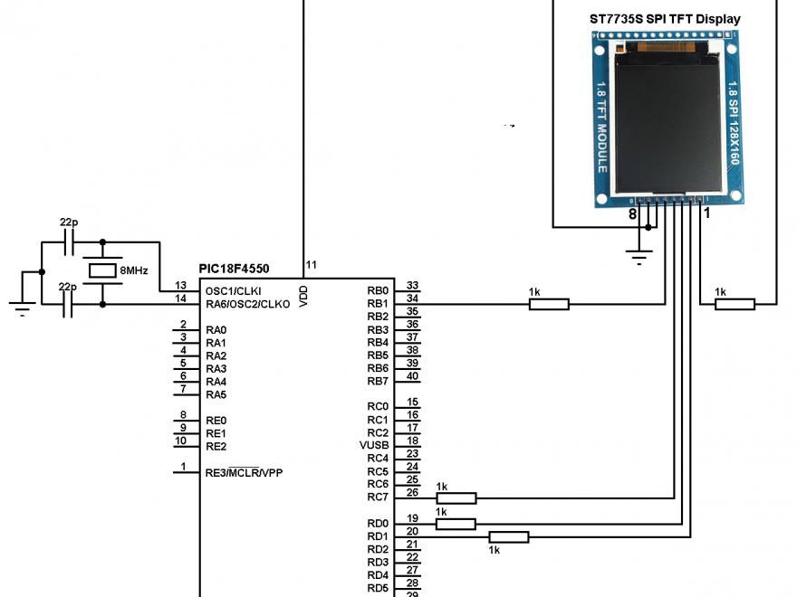 ST7735 TFT vertical scrolling with PIC18F4550