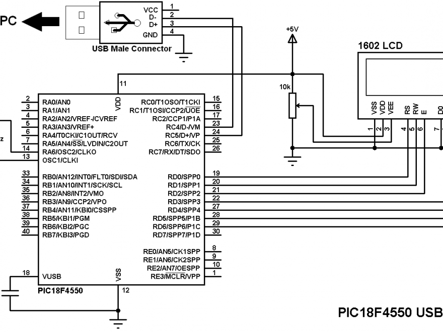 PIC18F4550 USB HID example circuit