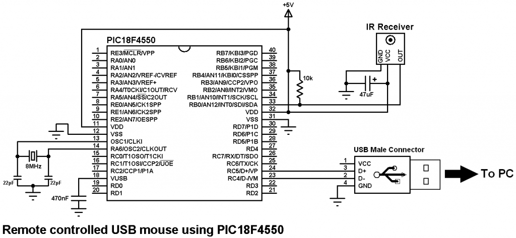 PIC18F4550 USB mouse remote control circuit
