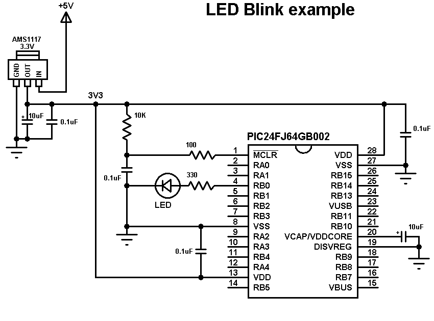 pic24fj64gb002 LED blink circuit