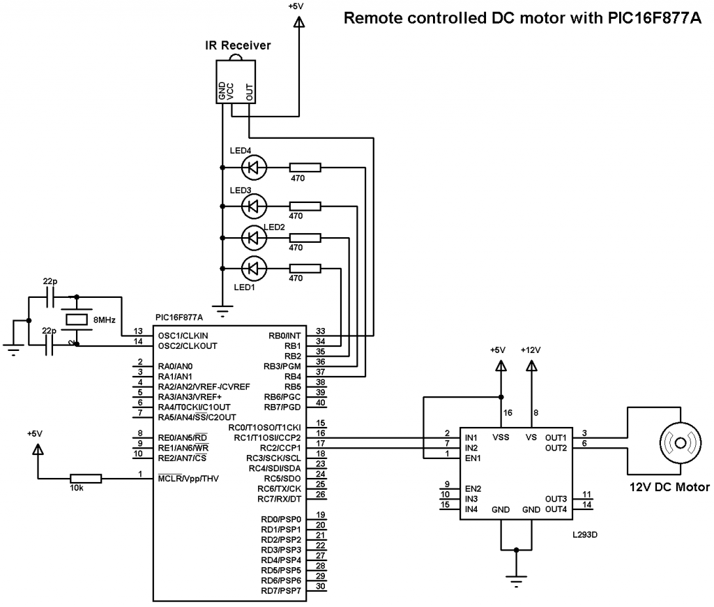 Remote controlled DC motor using PIC16F877A and RC-5 circuit