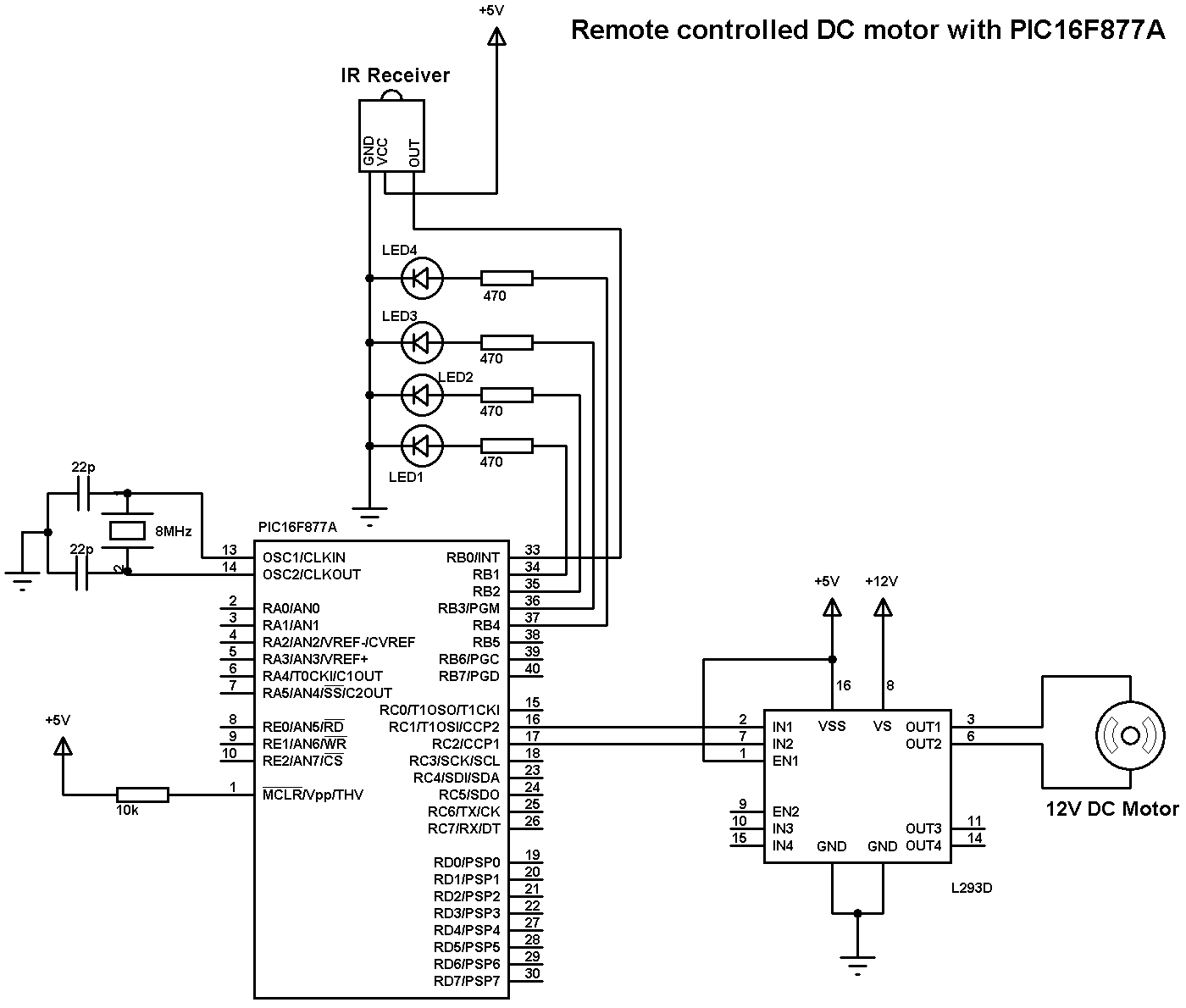 Remote Controlled Dc Motor Using Pic16f877a And Ccs C L293d Pin Diagram