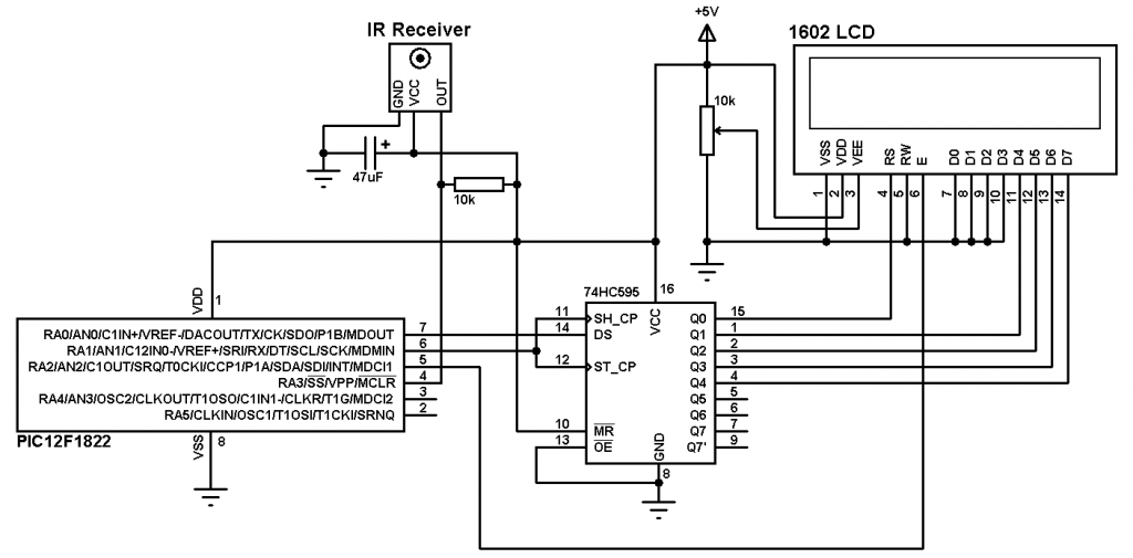 PIC12F1822 RC5 decoder circuit
