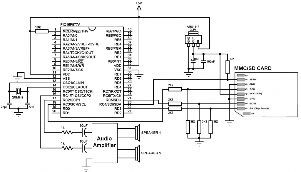 wav player with PIC16F877A and SD card circuit