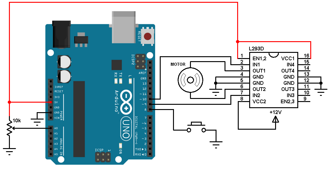 Arduino dc motor speed and direction control with l293d for Arduino encoder motor control