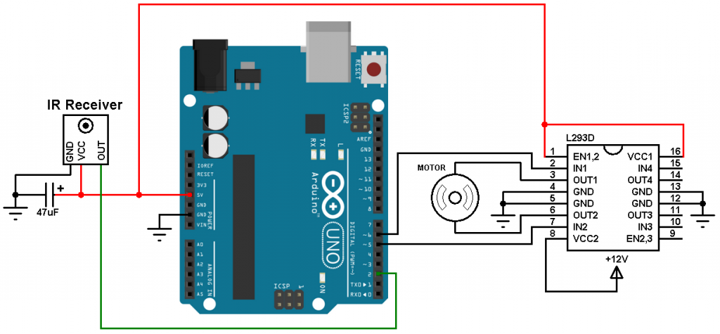 Arduino remote control DC motor circuit