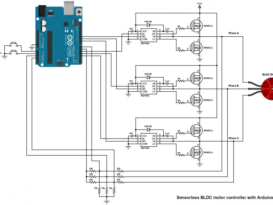 Arduino sensorless BLDC motor controller DIY ESC circuit