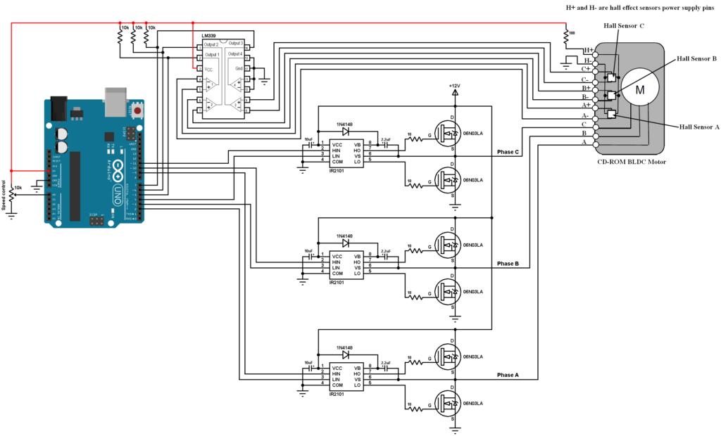 Arduino brushless DC motor control circuit IR2101