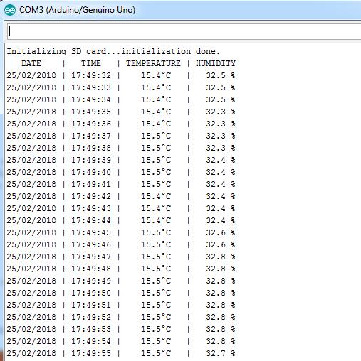 arduino datalogger dht22 serial monitor