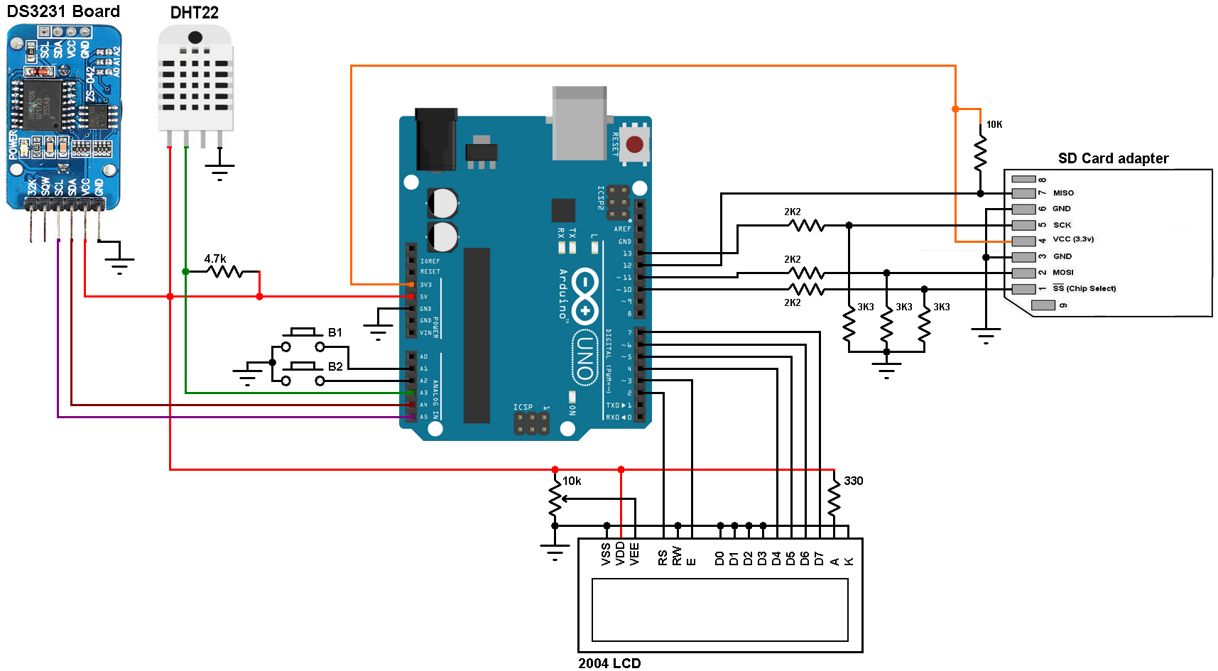 arduino datalogger with sd card, ds3231 and dht22