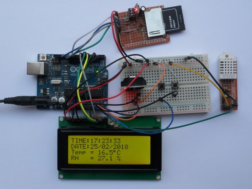 arduino sd card datalogger ds3231 dht22