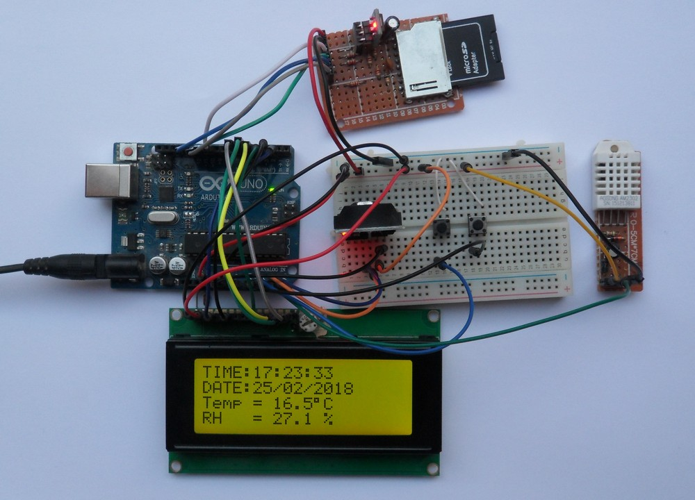Data Acquisition Hardware Input Circuits : Arduino datalogger with sd card ds and dht sensor