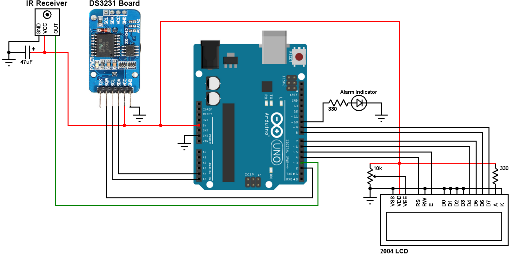 Arduino with DS3231 real time clock - calendar with alarms, temperature monitor and remote control