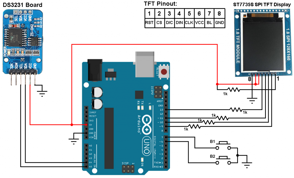 Arduino with DS3231 and ST7735S TFT circuit