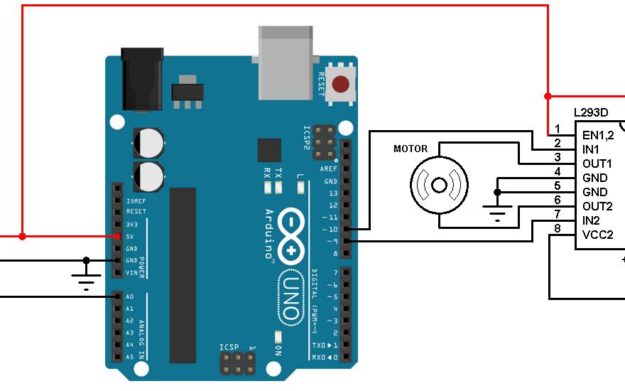Arduino joystick dc motor control circuit