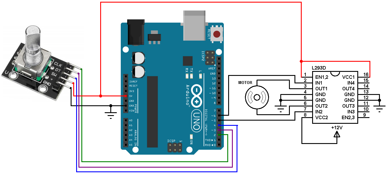 dc motor control with rotary encoder and arduino simple