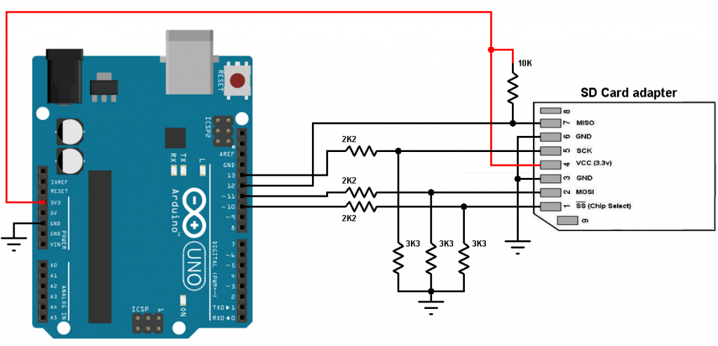 Arduino SD card interface circuit