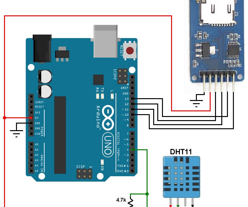 Arduino sd card dht11 datalogger microsd card module