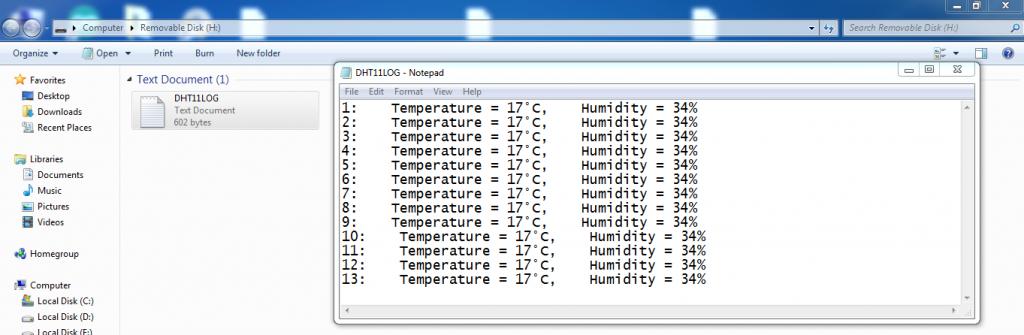 arduino sd card dht11 datalogger result