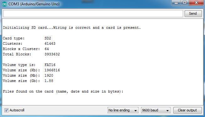 arduino sd card seral monitor