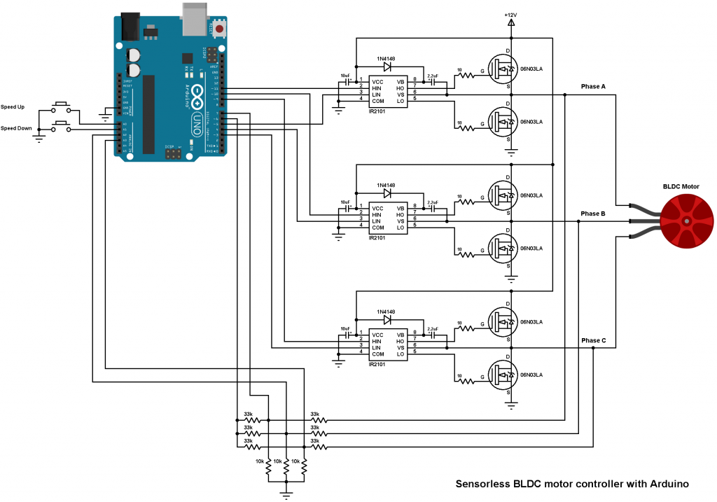 Brushless dc motor controller using arduino and ir2101 for Arduino encoder motor control