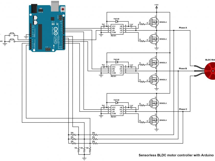 Arduino BLDC motor controller DIY ESC IR2101