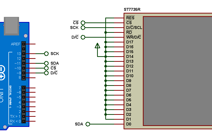 Arduino and ST7735R Proteus simulation circuit