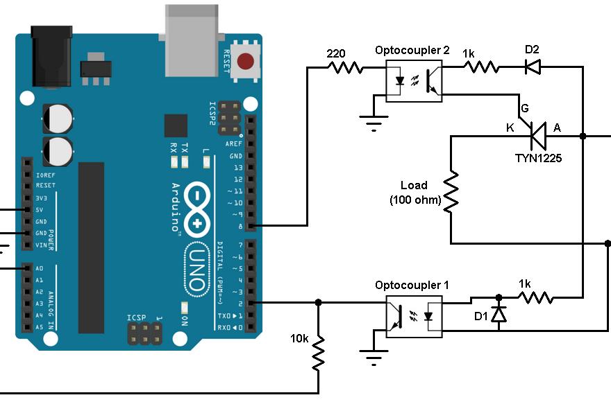 arduino scr half wave controlled rectifier