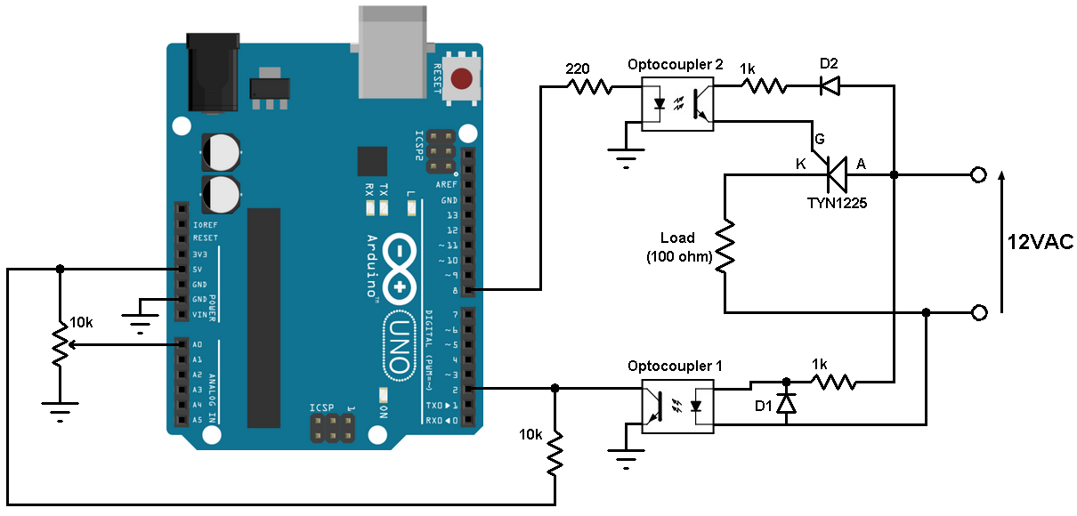 SCR control with Arduino - Half-wave controlled rectifier on