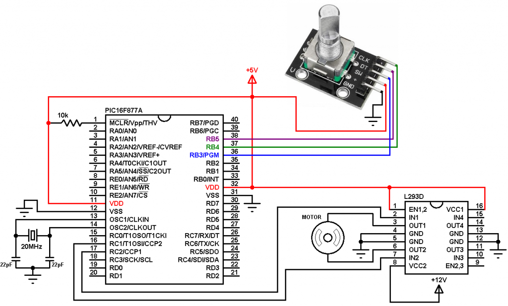 PIC16F877A rotary encoder DC motor controller circuit