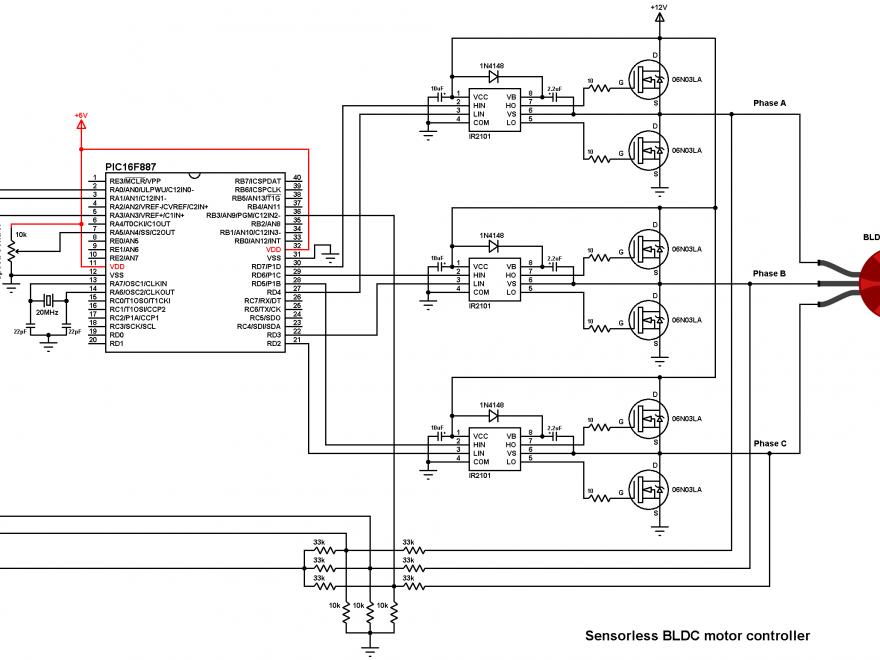 PIC16F887 Brushless dc motor controller DIY ESC circuit