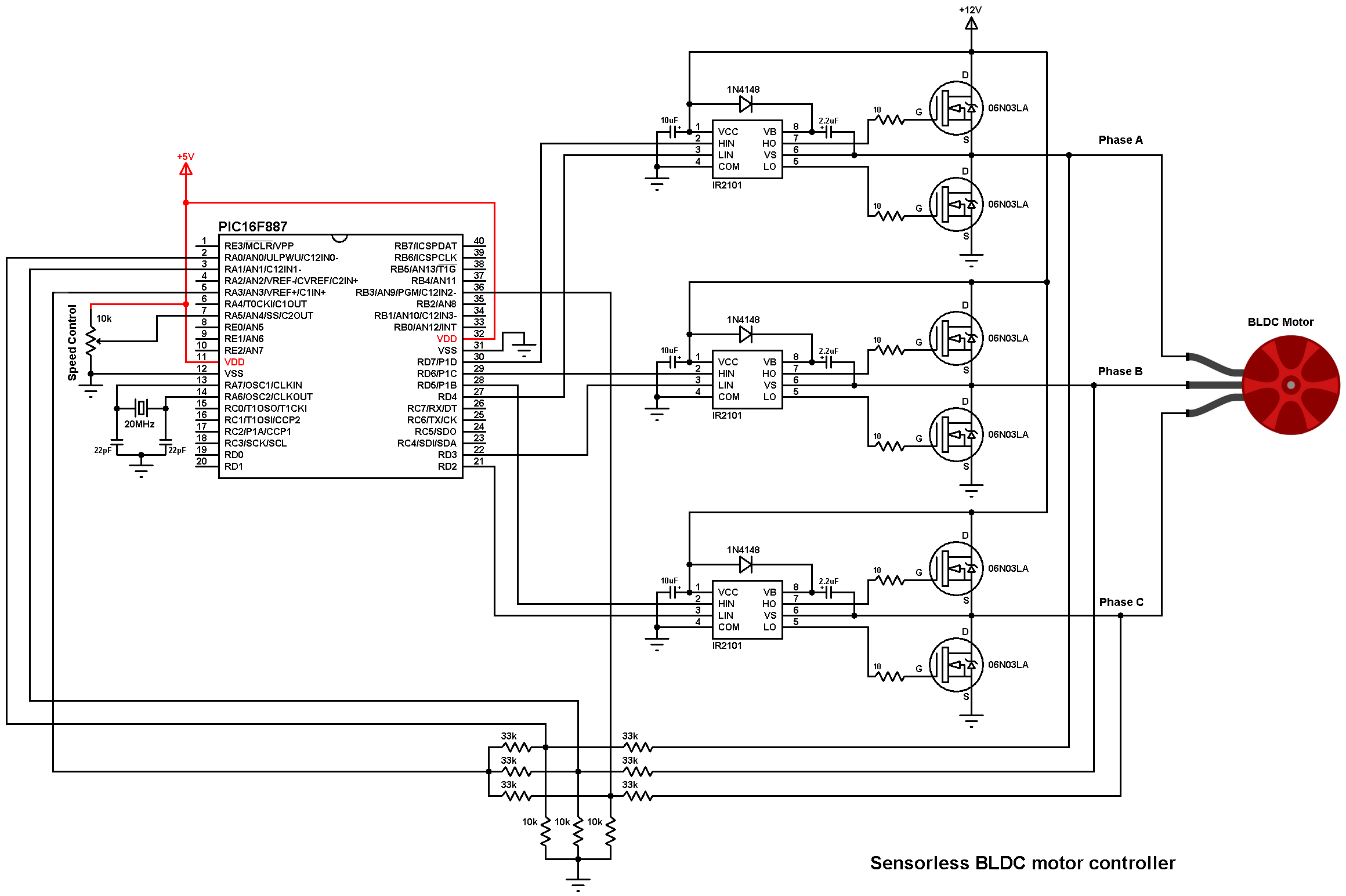 Brushless dc motor control with pic16f887 microcontroller for Schematic diagram of dc motor