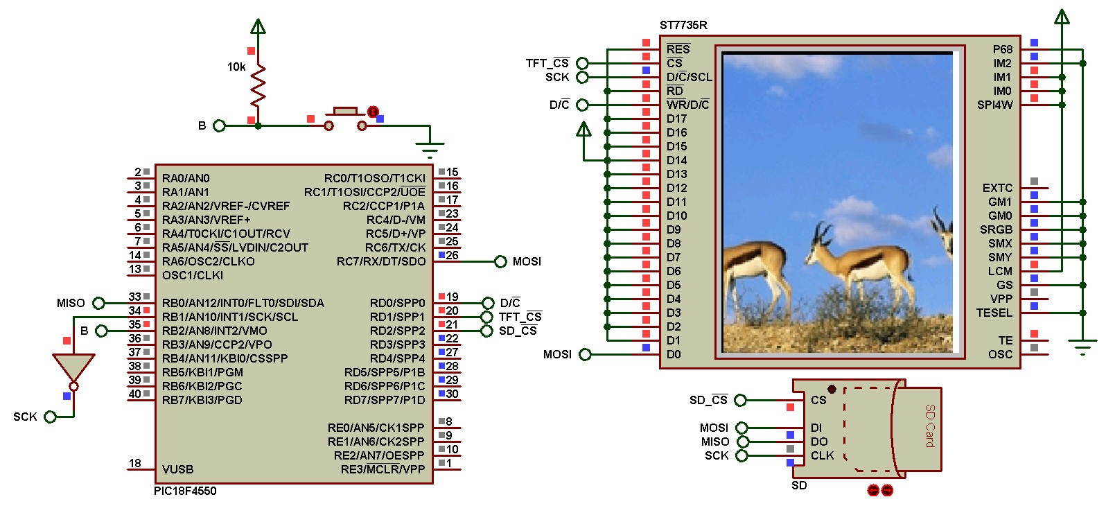 SD Card and ST7735R TFT Proteus simulation with PIC microcontroller