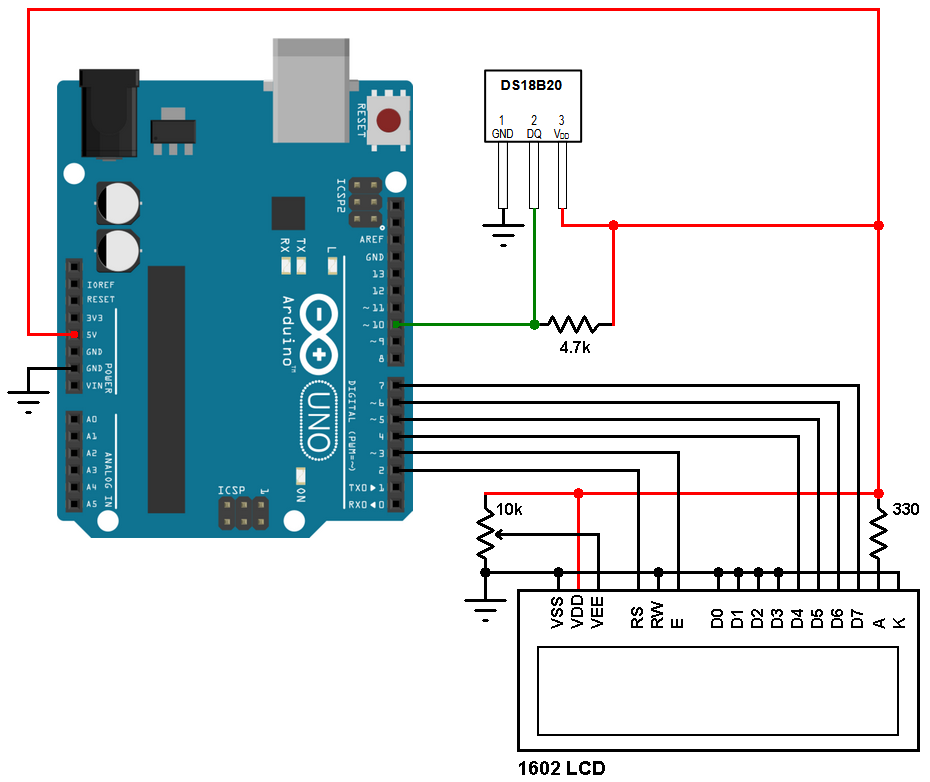 Arduino DS18B20 temperature sensor circuit