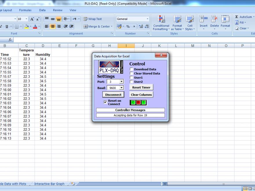 Arduino Excel plx-daq datalogger result