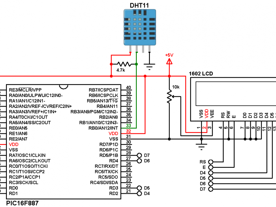 mikroc dht11 sensor circuit with PIC16F887