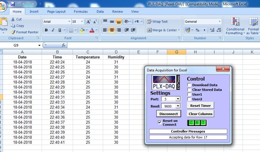 excel plx-daq datalogger temperature humidity
