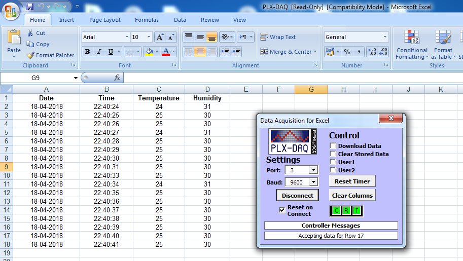 excel plx-daq datalogger temperature humidity