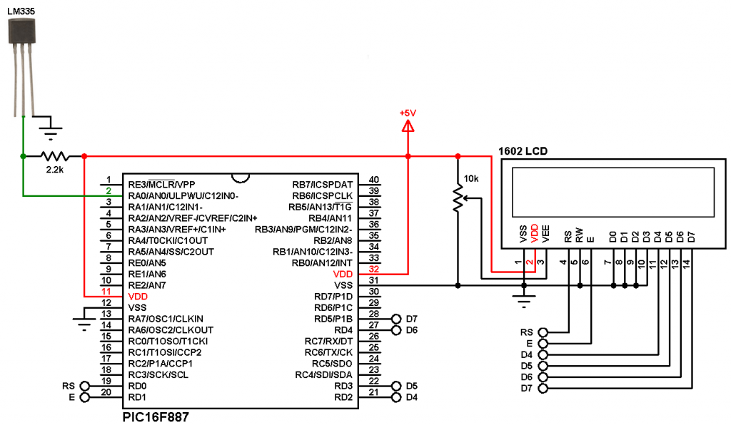 PIC16F887 with LM335 mikroC circuit