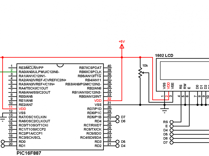 LM35 mikroC with PIC microcontroller circuit